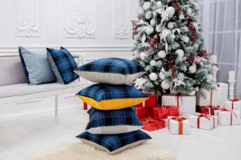 Tartan pillows in a pile